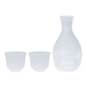 Sake carafe & cup - Snow - Tokkuri server bottle, Guinomi - sake glass ware
