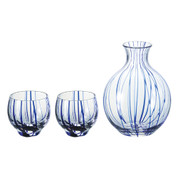 Sake carafe & cup - Blue thread - Tokkuri server bottle, Sakazuki - sake glass ware