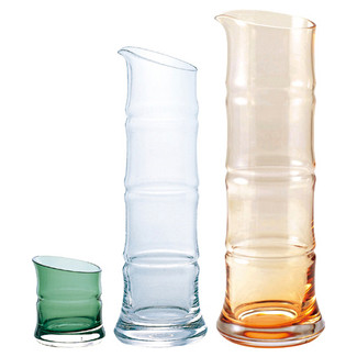 Sake carafe & cup - Bamboo - 3 color - Server bottle, Cup - sake glass ware