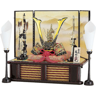 [Heritage set] Japanese Samurai Kabuto helmet - Dragon & Tiger - Stand base, byobu folding screen, and accessories