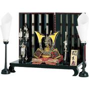 [Heritage set] Japanese Samurai Kabuto helmet - Tiger & Dragon [B] - Stand base, byobu folding screen, and accessories