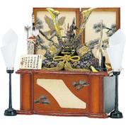 [Heritage set] Japanese Samurai Kabuto helmet - Dragon & Tiger Sho - Stand base, byobu folding screen, and accessories