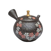 Japanese tea pot - SHORYU - SAKURA Gold Knob - 230cc/ml - ceramic fine mesh - Tokoname kyusu