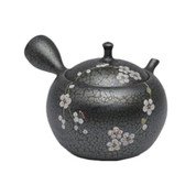 Japanese tea pot - SHORYU - SAKURA Black - 300cc/ml - ceramic fine mesh - Tokoname kyusu