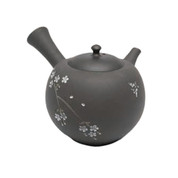 Japanese tea pot - SEIHO TSUZUKI - Butterfly & SAKURA Black clay - 250cc/ml - Sasame ceramic fine mesh - Tokoname kyusu with wooden box