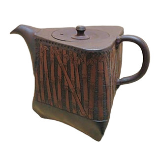 Japanese tea pot - SHUN-EN MANO - Bamboo - 300cc/ml - ceramic fine mesh - Tokoname kyusu with wooden box