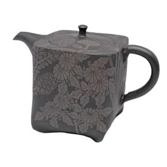 Japanese tea pot - SHUN-EN MANO - Wild grass - 280cc/ml - ceramic fine mesh - Tokoname kyusu with wooden box