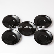 Urushi Chataku Yurigata Black Tea Saucer Set 5 pcs. - Japan Lacquareware