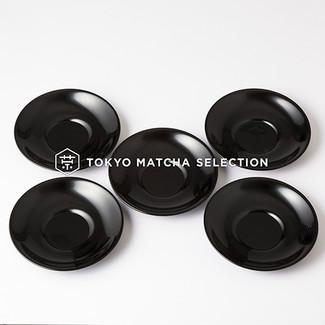 Urushi Chataku Yurigata Black Tea Saucer Set 5 pcs. - Japan Lacquareware