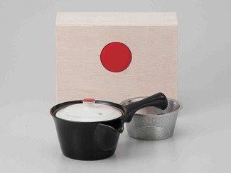 [Value] Hasami Porcelain : Kyusu tea pot w Stainless steel net (BLACK) w Box