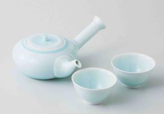 [Value] Hasami Celadon Porcelain : Kyusu tea pot & 2 Yunomi tea cups Set w Box