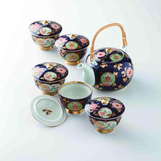 [Premium] Imari Porcelain : Old Imari design - Kyusu Tea pot & 5 tea cup Set Box