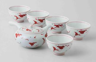 [Value] Hasami Porcelain : Flower - Japanese Kyusu Tea pot & 5 tea cup Set w Box