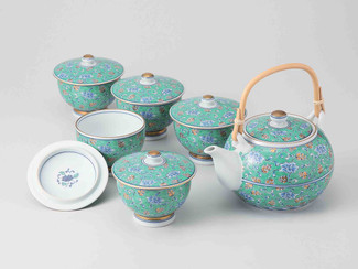 [Value] Hasami Porcelain : Green Arabesque - Kyusu Tea pot & 5 tea cup Set w Box