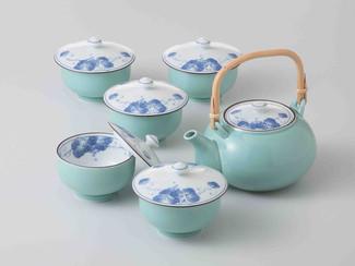 [SUPER SALE] Arita-yaki Porcelain : Grape - Kyusu Tea pot & 5 tea cup Set w Box