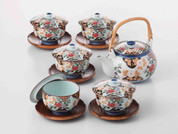 [SUPER SALE] Arita-yaki Porcelain: PEONY - Kyusu Tea pot, 5 tea cup & saucer Set w Box