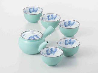 [SUPER SALE] Arita-yaki Porcelain: Grape B - Kyusu Tea pot & 5 tea cup Set w Box