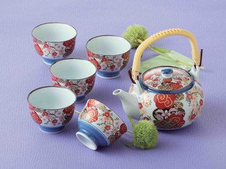 [SUPER SALE] Arita-yaki Porcelain : SAKURA - Kyusu Tea pot & 5 tea cup Set w Box