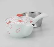 Hasami Porcelain : SAKURA - Kyusu tea pot w Stainless steel net