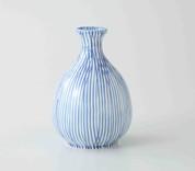 Sake Bottle & 2 Cups Set : Hanatokusa Stripe - Japanese Hasami Porcelain