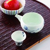 Sake Pot & 2 Cups Set : Wild Flower - Japanese Hasami Porcelain