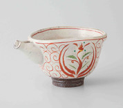 Sake Pot & 2 Cups Set : Akae Red picture - Japanese Hasami Porcelain