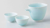 Celadon Porcelain : Sake Pot & 2 Cups Set : Seiji - Japanese Blue Porcelain