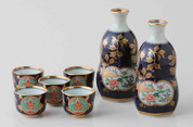 Imari Porcelain : 2 Sake Pot & 5 Cups Set : Old Imari Design Gold Kinsai Pattern