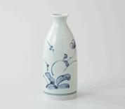 Sake Bottle & 2 Cups Set : Antique Design Flowers - Japanese Hasami Porcelain