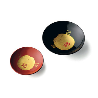 Fukufuku Happy Sake Cup Pair Set : Gold Black & Red - Japanese Lacquareware