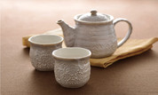 Minoyaki Pottery Tea Set : White Floral - 1 teapot & 2 teacups - Casual ceramic
