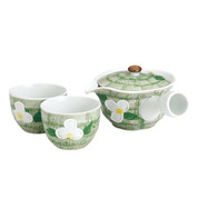 Minoyaki Pottery Tea Set : Green Floral - 1 teapot & 2 teacups - Casual ceramic