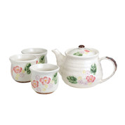 Minoyaki Pottery Tea Set : White Floral - 1 teapot & 5 teacups - Casual ceramic