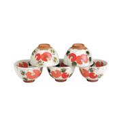 Minoyaki Pottery Tea Cup Set : Floral - 5 Yunomi Tea Cups - Casual ceramic