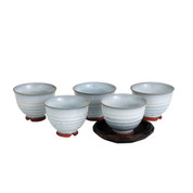 Hagiyaki Pottery Tea Cup Set : 5 Yunomi Tea Cups Light Gray - Casual ceramic