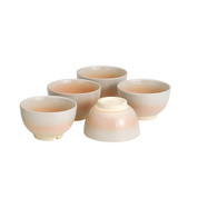 Hagiyaki Pottery Tea Cup Set : Ivory - 5 Yunomi Tea Cups - Casual ceramic