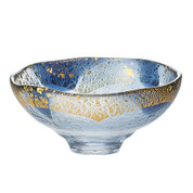 GIYAMAN - Glass Matcha Bowl : Blue Gold - Japanese Glass Matchawan Tea Ceremony