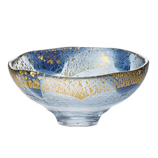 GIYAMAN - Glass Matcha Bowl : Blue Gold - Japanese Glass Matchawan Tea Ceremony