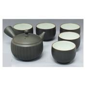 Tokoname Pottery Ceramic Kyusu Teaset: REIKOH - 1pot & 5yunomi cups w wooden box