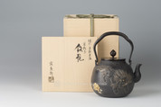 Takaoka Tetsubin : Chinese Guardian Lion with gold & silver inlay - Japanese Heritage Iron Kettle Teapot