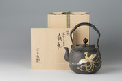 Takaoka Tetsubin - Iron Kettle Teapot : Phoenix with gold and silver inlay