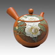 Tokoname Kyusu teapot - KODO - White Camellia 350cc/ml - ceramic fine mesh with wooden box - Item Image