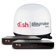 DISH Playmaker Dual 2 Receiver Satellite Antenna Bundle with Wally - White