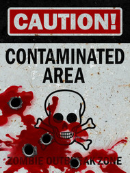 Caution Contaminated Area Sign - Halloween Decor Prop Road and Lawn Decoration Sticker