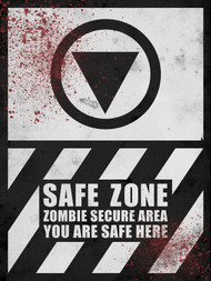 Safe Zone THICK Sign - Halloween Decor Prop Road and Lawn Decoration