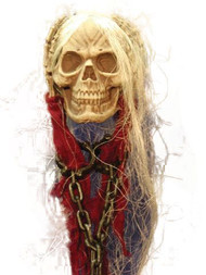 Hanging Skull with Skeleton Hands and Chain Halloween Prop