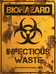 Infectious Waste Sign - Halloween Decor Prop Road and Lawn Decoration Sticker