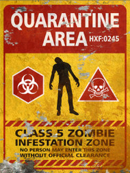 Quarantine Area THICK Sign - Halloween Decor Prop Road and Lawn Decoration