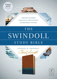 The Swindoll Study Bible. NLT   Brown/Teal Leather Like Book