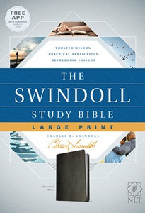 The Swindoll Study Bible.  NLT Black, Slightly Larger Print Leather Like Bible
